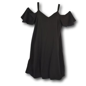 ASOS Black Cold Shoulder Baby Doll Dress 8